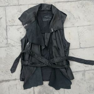 All Saints Spitalfields Leather Vest Manu Gilet